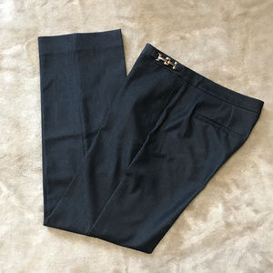 Dana Buchman Navy Trouser  Gold Buckle Detail SZ 2